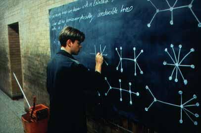 In de film Good Will Hunting (1997) is Matt Damon een school dropout die stiekem heel goed is in dingen met formules. Trouwens ook een kijktip.